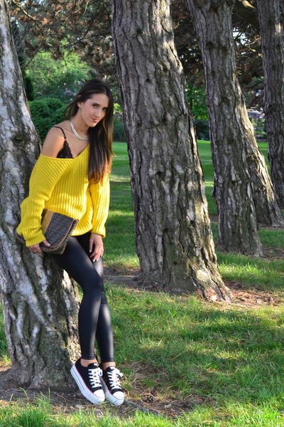 yellow thrift sweater - black H&M leggings - dark brown Vintage Fendi bag