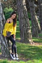 yellow thrift sweater - black H&M leggings - dark brown Vintage Fendi bag