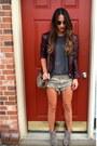 Dark-khaki-forever-21-boots-maroon-thrifted-vintage-jacket