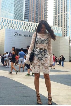 white vintage dress - black Hermes bag - black Zara heels