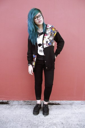 black cardigan - black skull tank H&M top - black creepers wedges