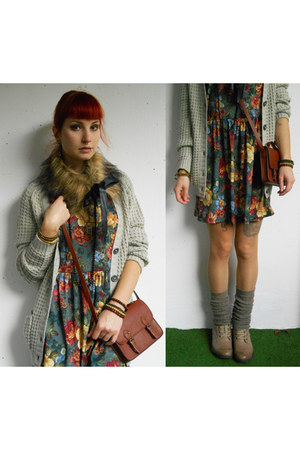 charcoal gray c&a dress - dark brown H&M bag - heather gray legwarmers c&a socks