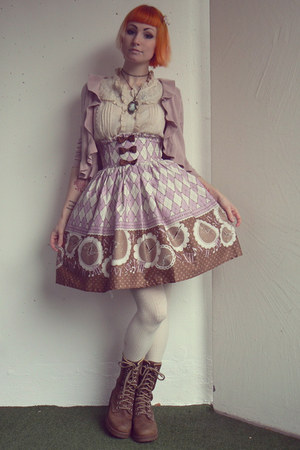 light purple Bodyline skirt - light pink H&M cardigan