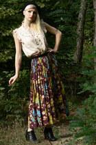 maroon vintage skirt - ivory off brand blouse - black New Yorker belt