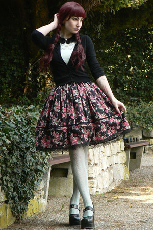 black lolita handmade skirt - aquamarine H&M shirt - aquamarine lindex tights