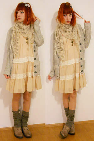 eggshell modcloth dress - ivory c&a sweater - beige crochet DIY scarf