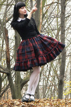 maroon plaid lolita handmade skirt - white brooch Draculaclothing accessories