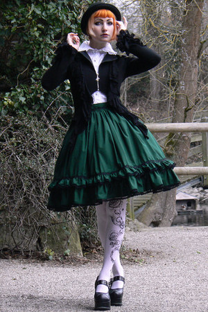dark green lolita handmade skirt - white lindex tights - white Anna House blouse