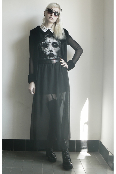 black Angelspit official merch t-shirt - black Tally Weijl skirt
