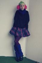 navy H&M skirt - black vagabond shoes - blue self-made scarf