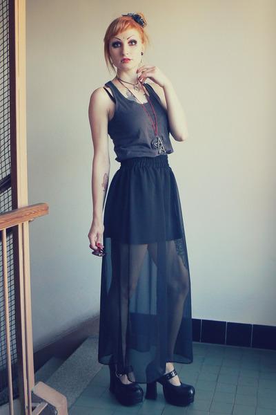 black Tally Weijl skirt - maroon Claires sunglasses - black Demonia heels