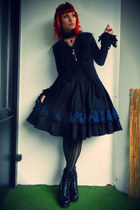 black lolita DIY skirt - black vagabond shoes - black choker DIY necklace