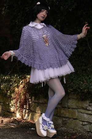 white handmade skirt - sky blue tights - light purple poncho vintage top