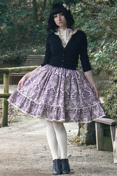 violet handmade skirt - black H&amp;M cardigan - off white H&amp;M accessories