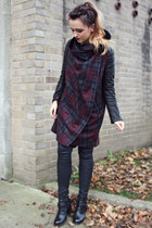 crimson leather sleeves All Saints coat - black biker boots All Saints boots