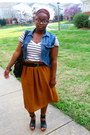 Blue-denim-levis-vest-tawny-long-skirt-thrifted-skirt-black-strappy-jeffrey-