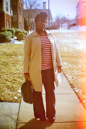 camel thrifted Gap coat - red striped Gap shirt - black clutch my grandmas bag -