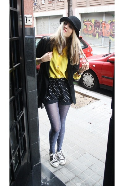 DIY shorts - Vans shoes - flea market hat - Primark blazer - Primark tights