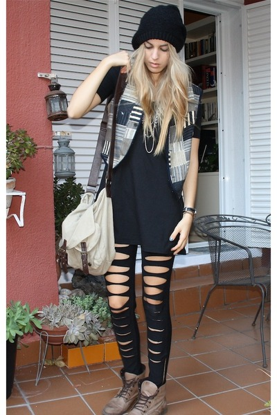 black handmade leggings - tan Primark boots - black flea market hat