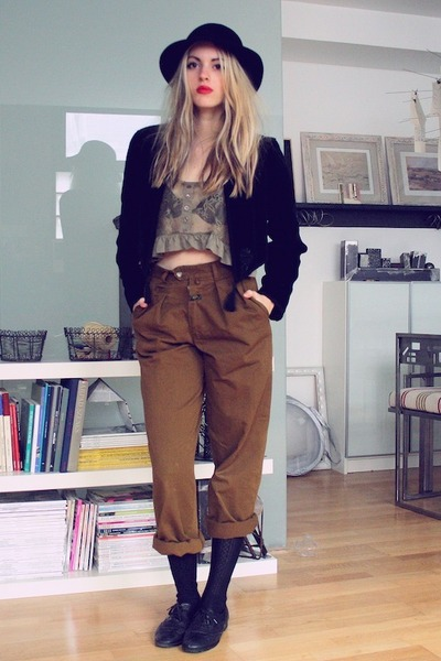 vintage shoes - christian dior hat - vintage jacket - Primark top
