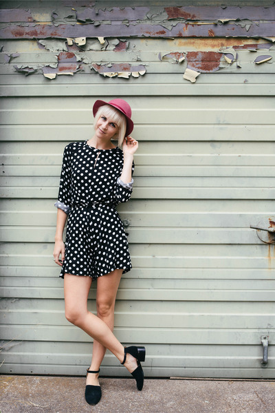 polka dot Yesfor romper - thrifted hat - acne bag - Urban Outfitters flats
