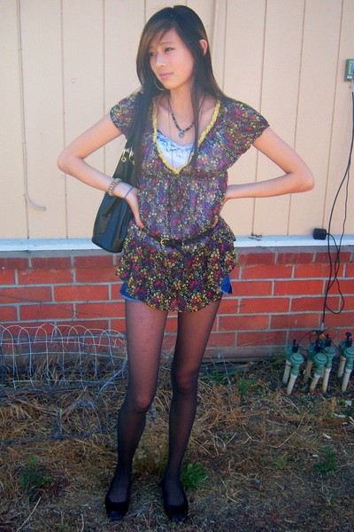 forever 21 dress - abercrombie and fitch shorts - forever 21 necklace - Aldo pur