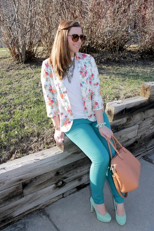 floral Lulus blazer - teal River Island jeans - brown JustFab bag
