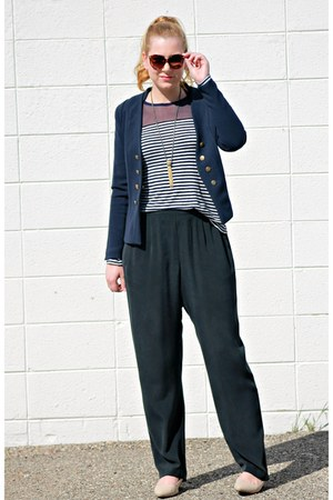 navy H&M blazer - navy Front Row Shop shirt - black Nexx pants