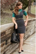 turquoise blue Target top - charcoal gray Loft dress - black Aldo bag