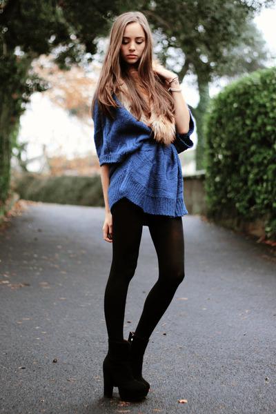 blue nowIStyle jumper - black OASAP boots