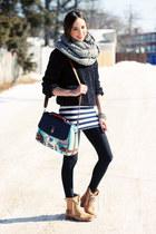 heather gray chunky Primark scarf - camel biker River Island boots