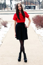black Jeffrey Campbell boots - red wrap Club Couture dress