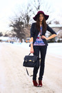Brick-red-new-look-boots-magenta-forever-21-hat-black-new-look-blazer