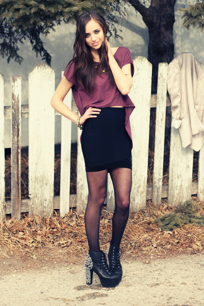 purple Club Couture top - Jeffrey Campbell boots - black Club Couture skirt