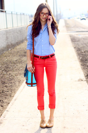 aquamarine OASAP bag - nude Joe Fresh shoes - hot pink Urban Planet jeans