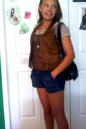 blue abercrombie and fitch shorts - brown Goodwill shirt - brown Goodwill vest -