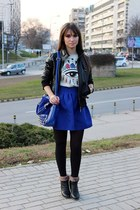 blue dressvenus bag - blue PERSUNMALL top - silver PERSUNMALL skirt