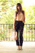 black OASAP pants - neutral romwe shirt - black inlovewithfashion heels