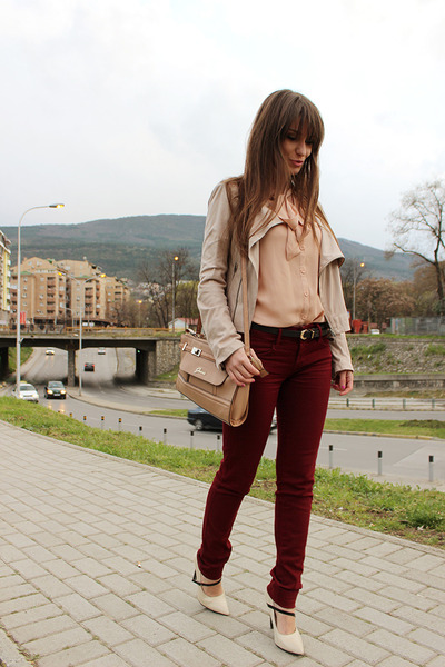 eggshell OASAP shirt - crimson Stradivarius jeans - beige Guess bag