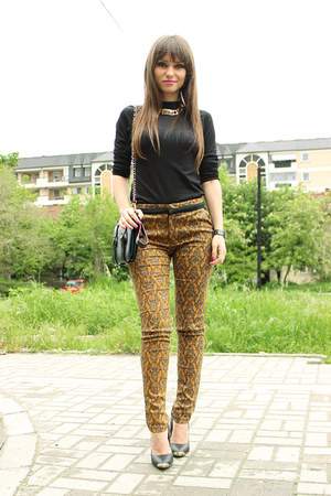yellow printed romwe pants - chicnova bag - inlovewithfashion heels