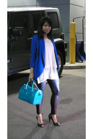 black Forever 21 leggings - blue wilfred blazer - teal candy bag Furla bag
