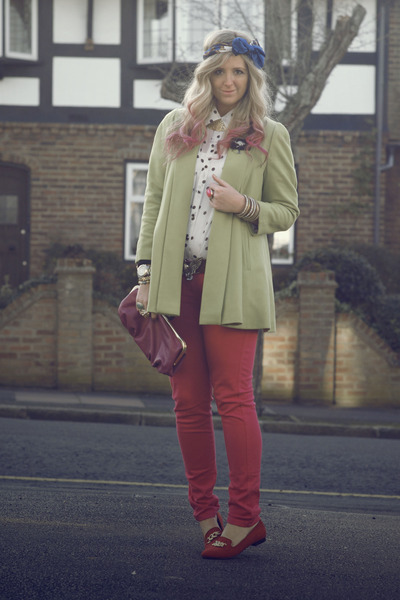 hot pink skinny jeans Primark jeans - chartreuse River Island coat