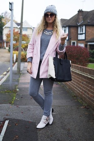 light pink new look coat - silver H&M jeans - silver new look jumper