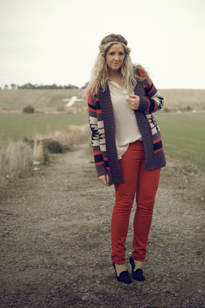 red aztec Primark cardigan - red Primark jeans - black studded Topshop flats