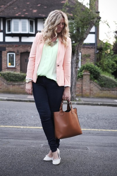 coral Zara blazer - navy Primark jeans - tan Ebay bag - chartreuse H&amp;M blouse