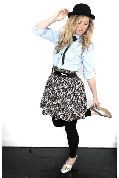 black H&M leggings - blue Primark shirt - black H&M skirt - black Primark belt -