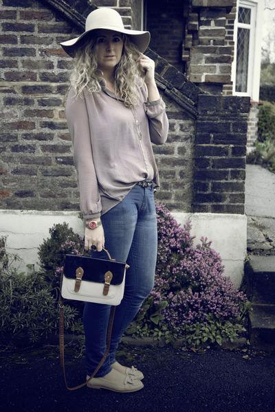 blue Primark jeans - beige TK Maxx hat - navy Primark bag - nude Primark flats -
