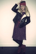 red Primark hat - purple vintage dress - red new look boots - black H&M jacket -