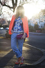 Light-blue-boyfriend-h-m-jeans-carrot-orange-boohoo-jacket