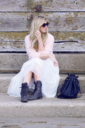 black Matalan boots - light pink fluffy H&M sweater - white tutu Boohoo skirt
